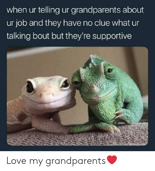 Love, Job, and Clue: when ur telling ur grandparents about  ur job and they have no clue what ur  talking bout but they're supportive Love my grandparents❤