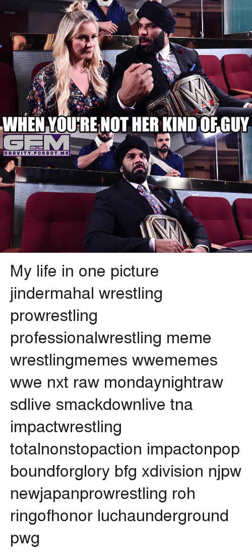 prowrestling: WHEN VOU'RE NOT HER KIND OFGUY  GEM  GRAVITY.FORGOT. ME My life in one picture jindermahal wrestling prowrestling professionalwrestling meme wrestlingmemes wwememes wwe nxt raw mondaynightraw sdlive smackdownlive tna impactwrestling totalnonstopaction impactonpop boundforglory bfg xdivision njpw newjapanprowrestling roh ringofhonor luchaunderground pwg