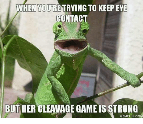 Cleavag: WHEN VOURE TRYING TO  KEEPEYE  CONTACT  BUT HER CLEAVAGE GAME IS STRONG  MEMEFUL COM