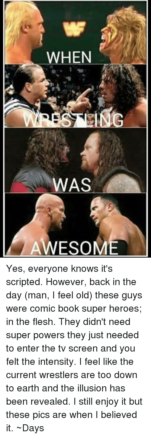 Awesomness: WHEN  WAS  AWESOM Yes, everyone knows it's scripted. However, back in the day (man, I feel old) these guys were comic book super heroes; in the flesh. They didn't need super powers they just needed to enter the tv screen and you felt the intensity. I feel like the current wrestlers are too down to earth and the illusion has been revealed. I still enjoy it but these pics are when I believed it.   ~Days