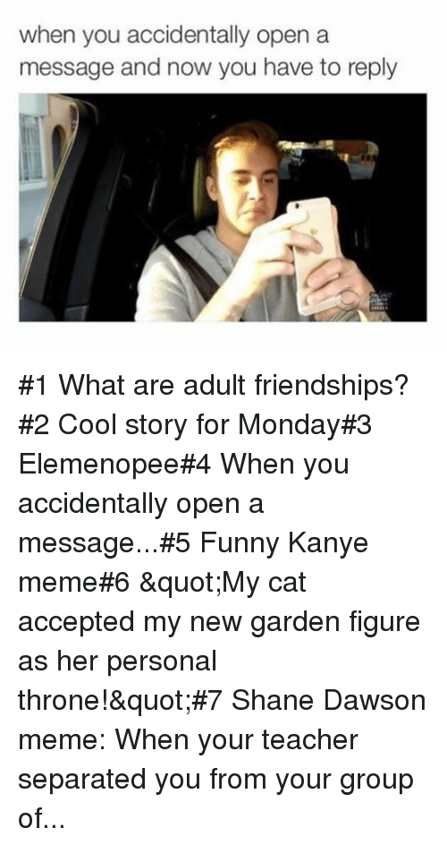 "Funny, Kanye, and Meme: when you accidentally open a  message and now you have to reply #1 What are adult friendships?#2 Cool story for Monday#3 Elemenopee#4 When you accidentally open a message...#5 Funny Kanye meme#6 ""My cat accepted my new garden figure as her personal throne!""#7 Shane Dawson meme: When your teacher separated you from your group of..."