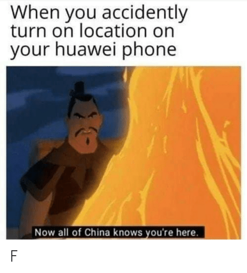 Phone, China, and Huawei: When you accidently  turn on location on  your huawei phone  Now all of China knows you're here. F