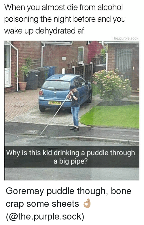 Boning: When you almost die from alcohol  poisoning the night before and you  wake up dehydrated af  The.purple.sock  Why is this kid drinking a puddle through  a big pipe? Goremay puddle though, bone crap some sheets 👌🏽 (@the.purple.sock)