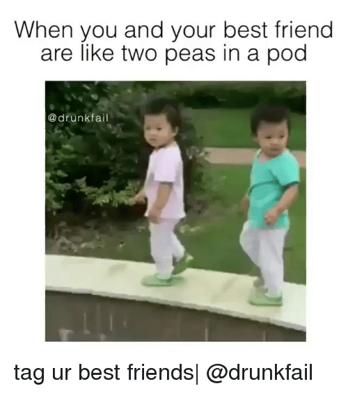 Best Friends Are Like: When you and your best friend  are like two peas in a pod  a drunk tag ur best friends| @drunkfail