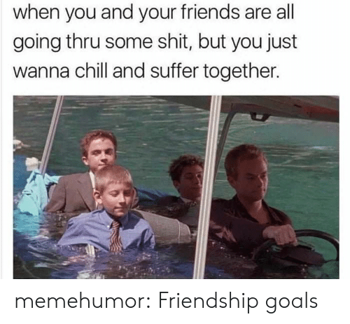 Friendship Goals: when you and your friends are all  going thru some shit, but you just  wanna chill and suffer together. memehumor:  Friendship goals