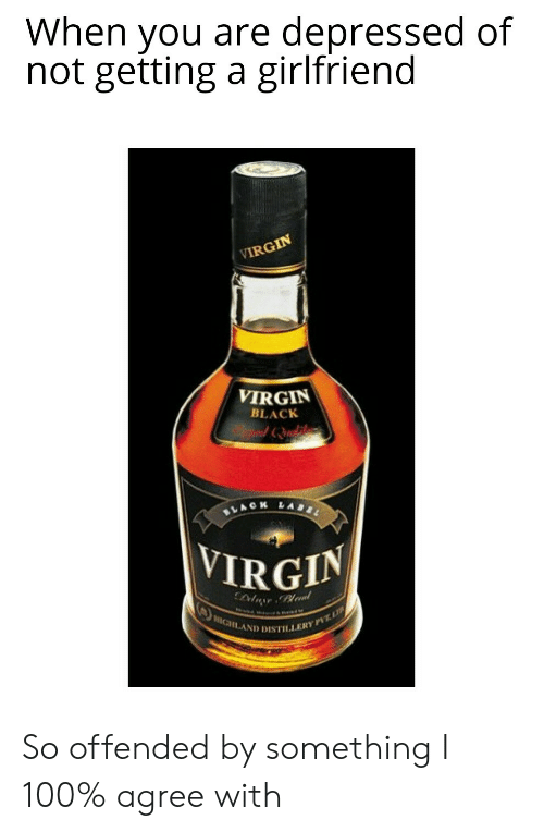 Leal: When you are depressed of  not getting a girlfriend  VIRGIN  VIRGIN  BLACK  LABL  ACH  VIRGIN  leal  HIGHLAND DISTILLERY PVTL So offended by something I 100% agree with