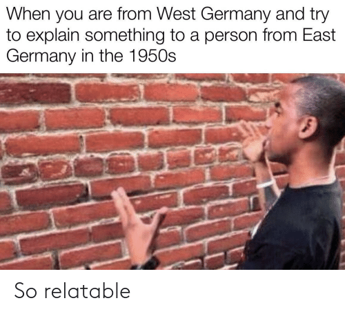 explain: When you are from West Germany and try  to explain something to a person from East  Germany in the 1950s So relatable