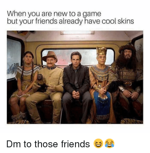 Friends, Memes, and Cool: When you are new to a game  but your friends already have cool skins Dm to those friends 😆😂