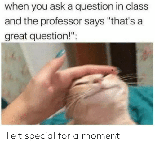 "Ask, Class, and Moment: when you ask a question in class  and the professor says ""that's a  areat question!"". Felt special for a moment"