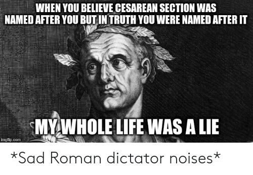 cesarean: WHEN YOU BELIEVE CESAREAN SECTION WAS  NAMED AFTER YOU BUT IN TRUTH YOU WERE NAMED AFTER IT  MY WHOLE LIFE WAS A LIE  img flip.com *Sad Roman dictator noises*