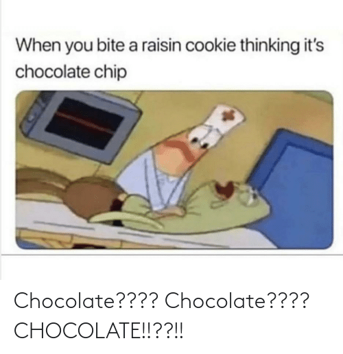 Chocolate: When you bite a raisin cookie thinking it's  chocolate chip Chocolate???? Chocolate???? CHOCOLATE!!??!!