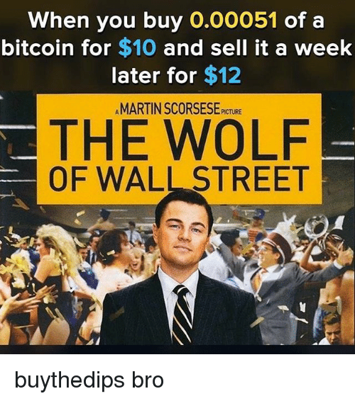 The Wolf of Wall Street: When you buy 0.00051 of a  bitcoin for $10 and sell it a week  later for $12  AMARTIN SCORSESE PICTURE  THE WOLF  OF WALL STREET buythedips bro