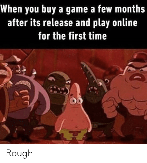 Game, Time, and Rough: When you buy a game a few months  after its release and play online  for the first time Rough