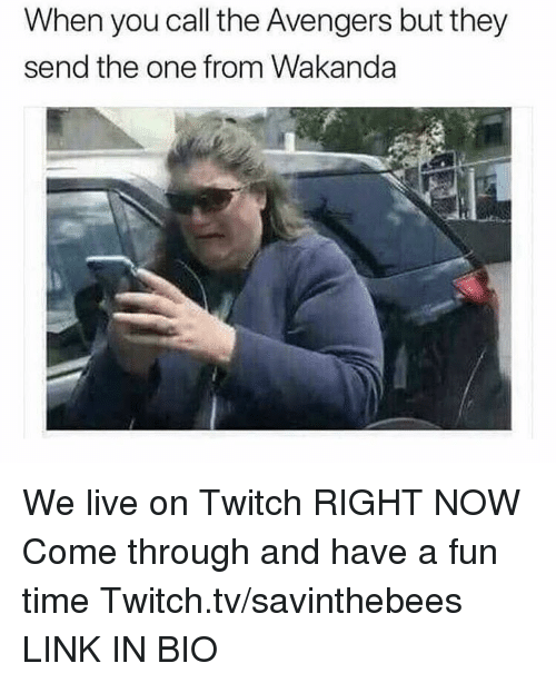 Twitch, Avengers, and Link: When you call the Avengers but they  send the one from Wakanda We live on Twitch RIGHT NOW  Come through and have a fun time  Twitch.tv/savinthebees LINK IN BIO