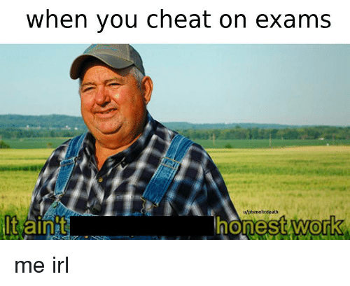 Work, Irl, and Me IRL: when you cheat on exams  u/phenolicdeath  t aint  work  0 me irl