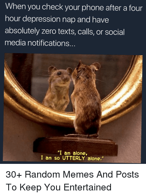 """Being Alone, Memes, and Phone: When you check your phone after a four  hour depression nap and have  absolutely zero texts, calls, or social  media notifications.  """"I am alone,  I am so UTTERLY alone."""" 30+ Random Memes And Posts To Keep You Entertained"""