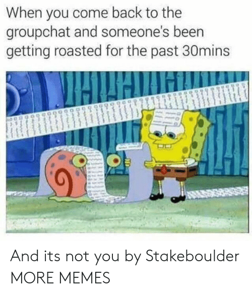 Dank, Memes, and Target: When you come back to the  groupchat and someone's beern  getting roasted for the past 30mins And its not you by Stakeboulder MORE MEMES