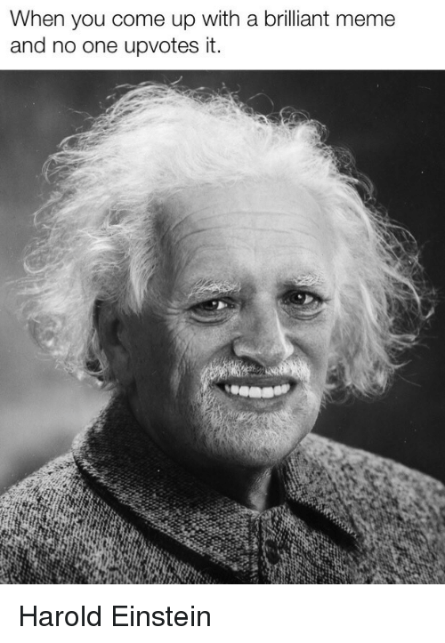 Meme, Einstein, and Brilliant: When you come up with a brilliant meme  and no one upvotes it. Harold Einstein