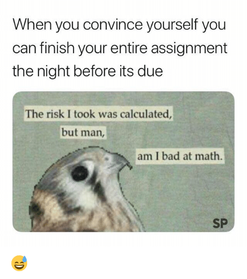 Bad At Math: When you convince yourself you  can finish your entire assignment  the night before its due  The risk I took was calculated  but man,  am I bad at math.  SP 😅