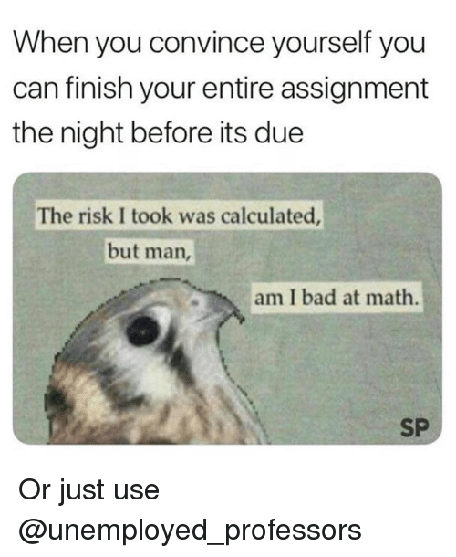 Bad At Math: When you convince yourself you  can finish your entire assignment  the night before its due  The risk I took was calculated  but man,  am I bad at math.  SP Or just use @unemployed_professors