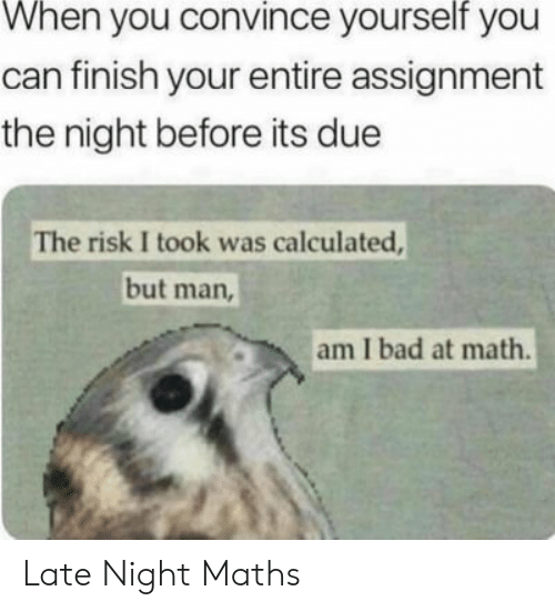 But Man Am I Bad At Math: When you convince yourself you  can finish your entire assignment  the night before its due  The risk I took was calculated,  but man  am I bad at math. Late Night Maths