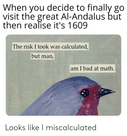 But Man Am I Bad At Math: When you decide to finally go  visit the great Al-Andalus but  then realise it's 1609  The risk I took was calculated,  but man,  am I bad at math. Looks like I miscalculated
