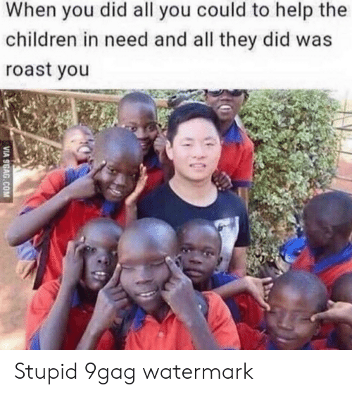 9Gag Watermark: When you did all you could to help the  children in need and all they did was  roast you  VIA 96AG.COM Stupid 9gag watermark