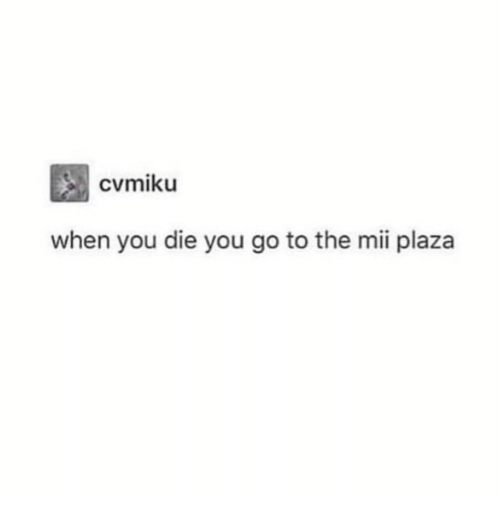 mii: when you die you go to the mii plaza