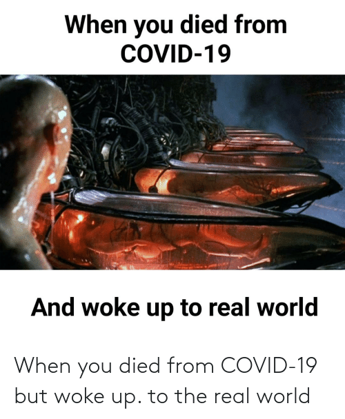 real world: When you died from COVID-19 but woke up. to the real world