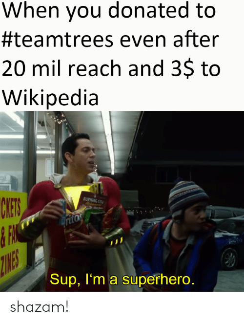 wikipedia: When you donated to  #teamtrees even after  20 mil reach and 3$ to  Wikipedia  CHES  BURNING COM  Hatanent  ritos  ZINES  Sup, I'm a superhero. shazam!