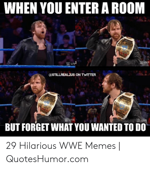 Wwe Memes 2017: WHEN YOU ENTER A ROOM  LIVE  BUT FORGET WHAT YOU WANTED TO DO 29 Hilarious WWE Memes | QuotesHumor.com