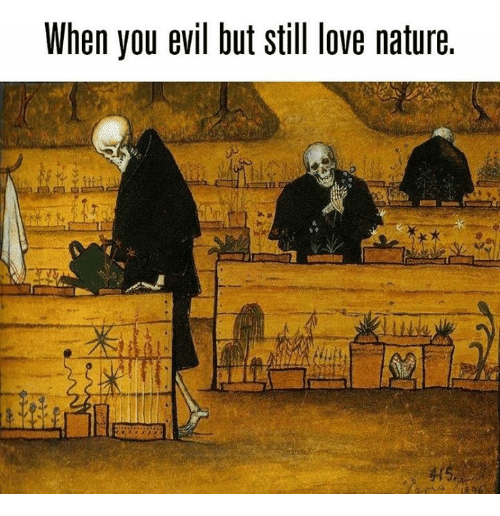 Love, Nature, and Evil: When you evil but still love nature.