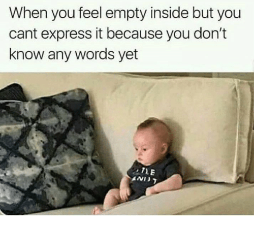 Express, Words, and You: When you feel empty inside but you  cant express it because you don't  know any words yet  TLE  AND
