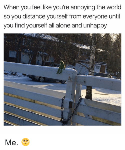 Being Alone, World, and Dank Memes: When you feel like you're annoying the world  so you distance yourself from everyone until  you find yourself all alone and unhappy Me. 🥺