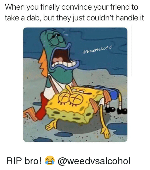 Weed, Marijuana, and Dab: When you finally convince your friend to  take a dab, but they just couldn't handle it  @WeedVsAlcohol RIP bro! 😂 @weedvsalcohol