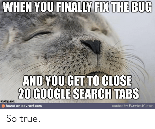 Tabs: WHEN YOU FINALLY FIX THE BUG  ANDYOU GET TO CLOSE  20 GOOGLE SEARCH TABS  imgflip.com  found on devrant.com  posted by Funnies tC low n So true.