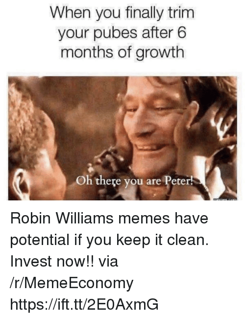 Memes, Robin Williams, and Robin: When you finally trim  your pubes after 6  months of growth  Oh there you are Peter! Robin Williams memes have potential if you keep it clean. Invest now!! via /r/MemeEconomy https://ift.tt/2E0AxmG
