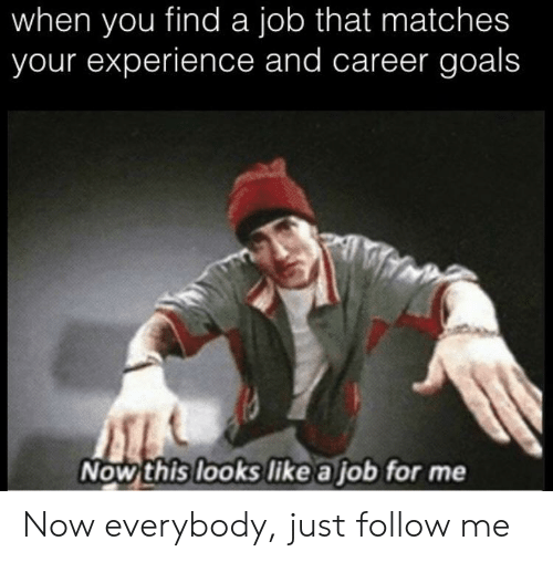 Goals, Experience, and Job: when you find a job that matches  your experience and career goals  Now this looks like a job for me Now everybody, just follow me
