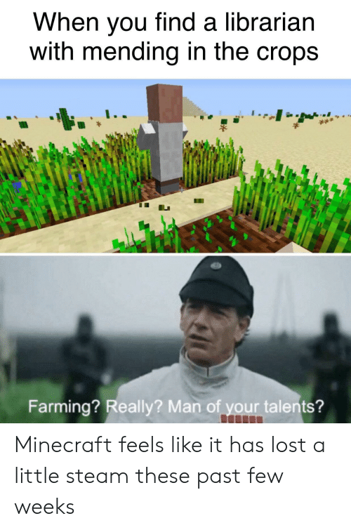 find a: When you find a librarian  with mending in the crops  Farming? Really? Man of your talents? Minecraft feels like it has lost a little steam these past few weeks
