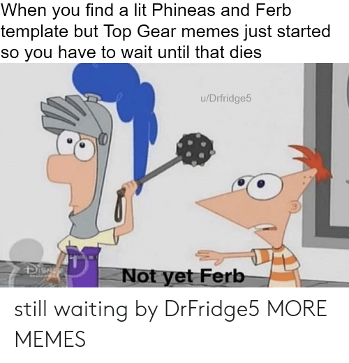 Still Waiting: When you find a lit Phineas and Ferb  template but Top Gear memes just started  so you have to wait until that dies  u/Drfridge5  41  Not yet Ferb still waiting by DrFridge5 MORE MEMES