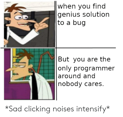 nobody cares: |when you find  genius solution  |to a bug  |But you are the  |only programmer  |around and  nobody cares. *Sad clicking noises intensify*