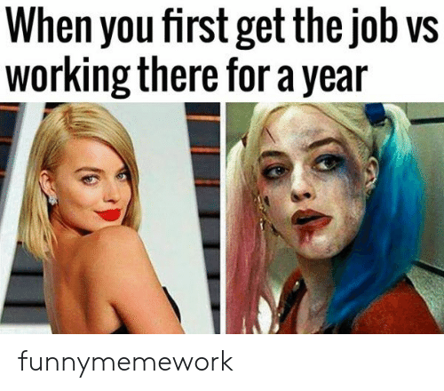 the job: When you first get the job vs  working there for a year funnymemework
