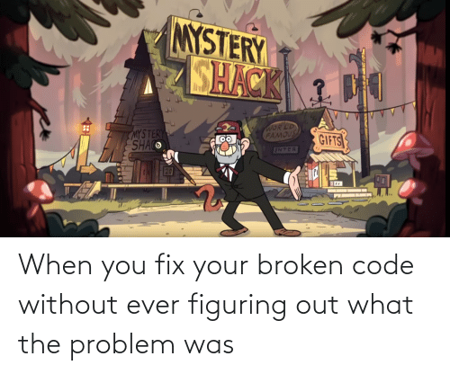broken: When you fix your broken code without ever figuring out what the problem was