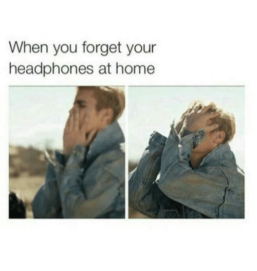 Funny, Headphones, and Headphone: When you forget your  headphones at home