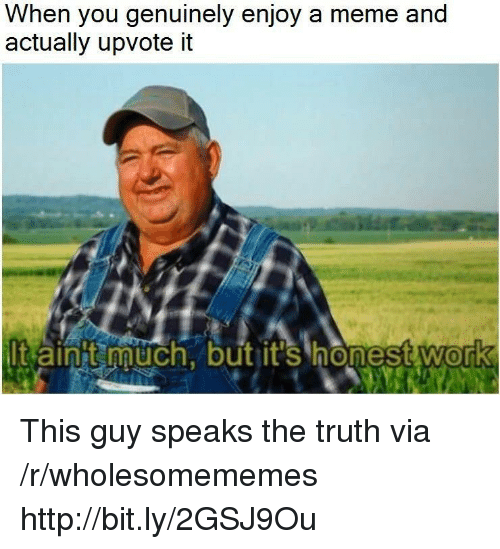 Meme, Work, and Http: When you genuinely enjoy a meme and  actually upvote it  t ainit much, but it's honest work  0 This guy speaks the truth via /r/wholesomememes http://bit.ly/2GSJ9Ou