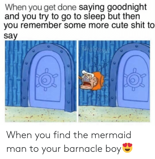 mermaid: When you get done saying goodnight  and you try to go to sleep but then  you remember some more cute shit to  say  adasA When you find the mermaid man to your barnacle boy😍