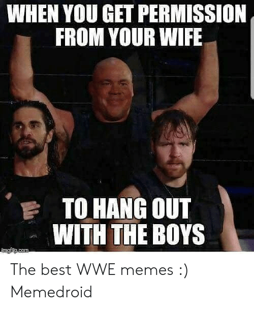 Wwe Memes 2017: WHEN YOU GET PERMISSION  FROM YOUR WIFE  TO HANG OUT  WITH THE BOYS The best WWE memes :) Memedroid