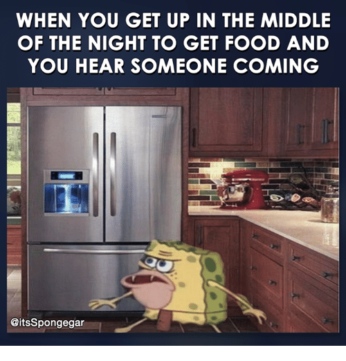 Spongegar: WHEN YOU GET UP IN THE MIDDLE  OF THE NIGHT TO GET FOOD AND  YOU HEAR SOMEONE COMING  @its Spongegar