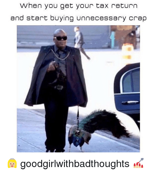 Memes, Tax Return, and 🤖: When you get your tax return  and start buying unnecessary crap 👸🏼 goodgirlwithbadthoughts 💅🏼