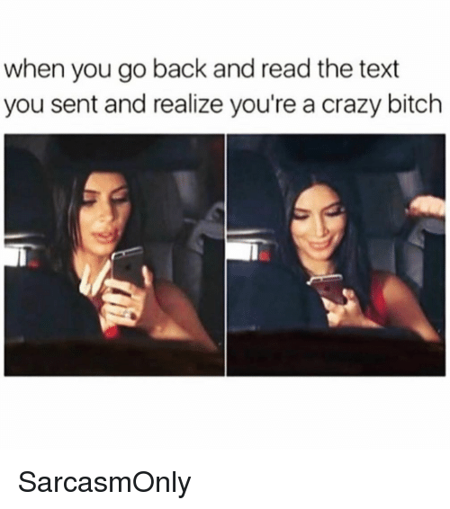 Bitch, Crazy, and Funny: when you go back and read the text  you sent and realize you're a crazy bitch SarcasmOnly